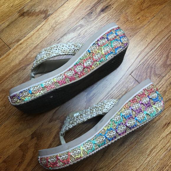 Volatile rainbow cream platform sandals thong 9
